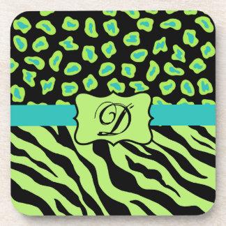 Black, Lime Green & Turquoise Zebra & Cheetah Skin Beverage Coaster