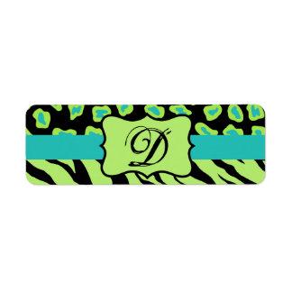 Black, Lime Green & Turquoise Zebra & Cheetah Skin Label