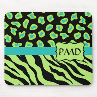 Black, Lime Green & Turquoise Zebra & Cheetah Skin Mouse Pad
