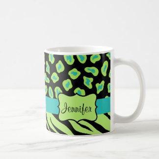 Black, Lime Green & Turquoise Zebra & Cheetah Skin Classic White Coffee Mug