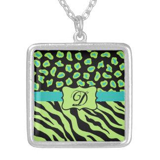 Black, Lime Green & Turquoise Zebra & Cheetah Skin Custom Jewelry