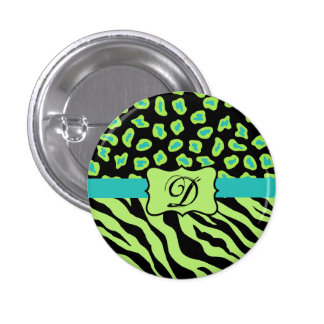 Black, Lime Green & Turquoise Zebra & Cheetah Skin Pinback Button