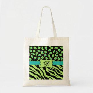 Black, Lime Green & Turquoise Zebra & Cheetah Skin Tote Bag