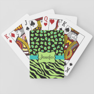 Black, Lime Green Turquoise Zebra Leopard Name Playing Cards