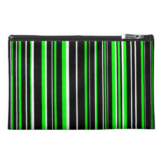 Black, Lime Green, White Barcode Stripe Travel Accessory Bag