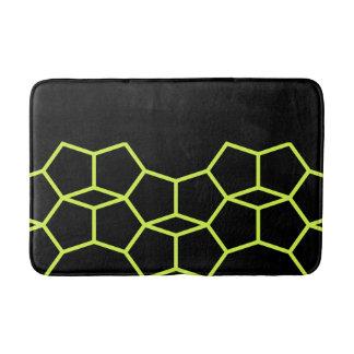 Black Lime Green Yellow Geometric Pattern Bath Mat