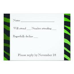 Black Lime Green  Zebra Stripes rsvp with envelope Card
