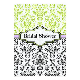 "Black lime purple damask wedding bridal shower 5"" x 7"" invitation card"