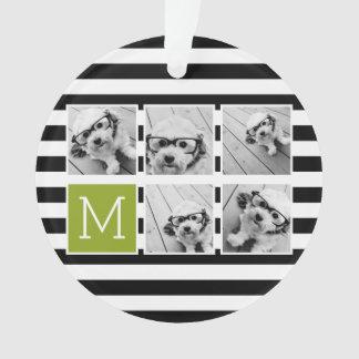 Black Lime Striped Photo Collage Custom Monogram