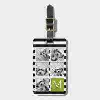 Black Lime Striped Photo Collage Custom Monogram Bag Tag