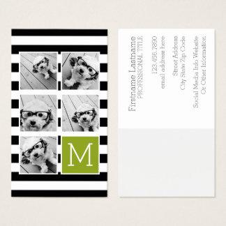 Black Lime Striped Photo Collage Custom Monogram Business Card