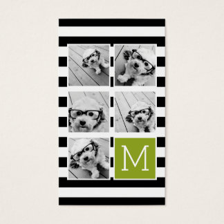 Black Lime Striped Photo Collage Custom Monogram Business Card