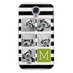 Black Lime Striped Photo Collage Custom Monogram Galaxy S4 Cases