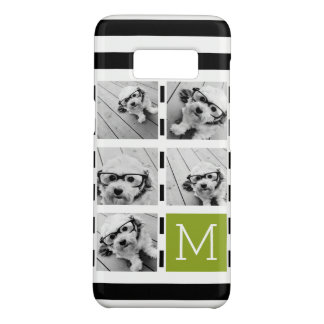 Black Lime Striped Photo Collage Custom Monogram Case-Mate Samsung Galaxy S8 Case
