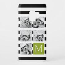 Black Lime Striped Photo Collage Custom Monogram Case-Mate Samsung Galaxy S9 Case