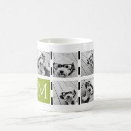 Black Lime Striped Photo Collage Custom Monogram Coffee Mug