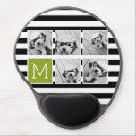 "Black Lime Striped Photo Collage Custom Monogram Gel Mouse Pad<br><div class=""desc"">Background includes an optional stripe Pattern - Use five square photos to create a unique and personal gift. Or you can keep the hipster puppy and make a trendy keepsake. If you need to adjust the pictures,  click on the customize tool to make changes.</div>"