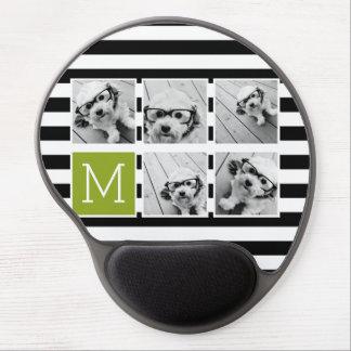 Black Lime Striped Photo Collage Custom Monogram Gel Mouse Pad
