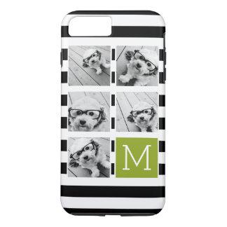 Black Lime Striped Photo Collage Custom Monogram iPhone 8 Plus/7 Plus Case