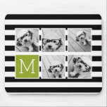 """Black Lime Striped Photo Collage Custom Monogram Mouse Pad<br><div class=""""desc"""">Background includes an optional stripe Pattern - Use five square photos to create a unique and personal gift. Or you can keep the hipster puppy and make a trendy keepsake. If you need to adjust the pictures,  click on the customize tool to make changes.</div>"""