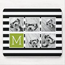 Black Lime Striped Photo Collage Custom Monogram Mouse Pad