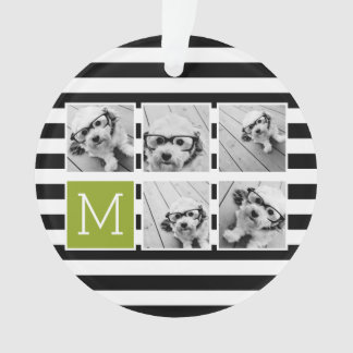 Black Lime Striped Photo Collage Custom Monogram Ornament