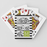 "Black Lime Striped Photo Collage Custom Monogram Playing Cards<br><div class=""desc"">Background includes an optional stripe Pattern - Use five square photos to create a unique and personal gift. Or you can keep the hipster puppy and make a trendy keepsake. If you need to adjust the pictures,  click on the customize tool to make changes.</div>"