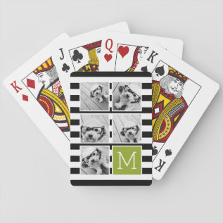 Black Lime Striped Photo Collage Custom Monogram Playing Cards at Zazzle