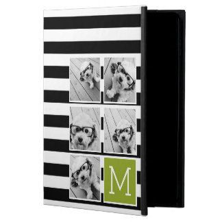 Black Lime Striped Photo Collage Custom Monogram Powis iPad Air 2 Case