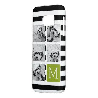 Black Lime Striped Photo Collage Custom Monogram Samsung Galaxy S7 Case