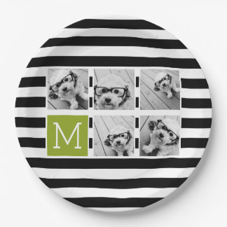 Black Lime Striped Photo Collage Custom Monogram 9 Inch Paper Plate