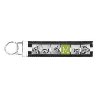 Black Lime Striped Photo Collage Custom Monogram Wrist Keychain