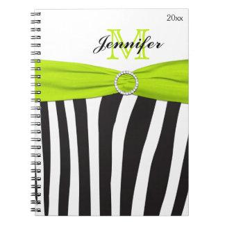 Black Lime White Zebra Striped Notebook