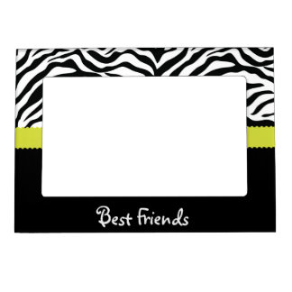 Black & Lime Zebra Stripe Best Friends Magnetic Picture Frame