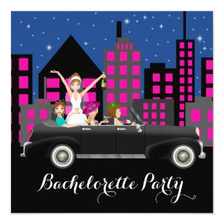 Black Limo City Bachelorette Party 5.25x5.25 Square Paper Invitation Card