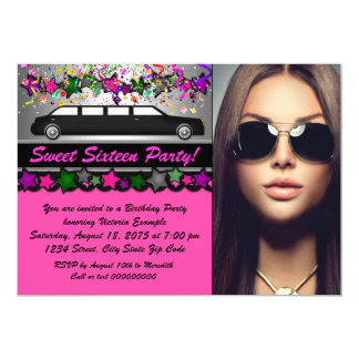 Black Limo Hot Pink Black Photo Sweet 16 Party Card