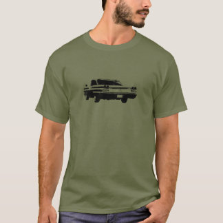 Black line art image of 1960 Pontiac coupe rear T-Shirt