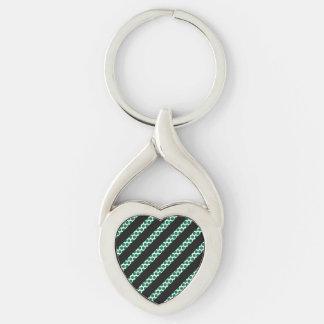 Black Line Blue Dot Heart Silver-Colored Heart-Shaped Metal Keychain