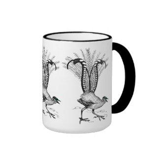 Black line drawing- Lyre Bird Coffee Mug