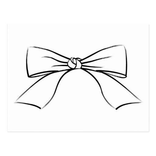 Line Art Ribbon : Black line ribbon bow postcard zazzle