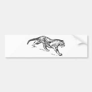 Black Lineart of Tiger Descending Car Bumper Sticker
