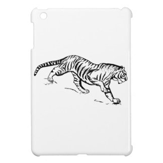 Black Lineart of Tiger Descending Cover For The iPad Mini