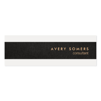 Black Linen Look Simple Modern Stripe Professional Double-Sided Mini Business Cards (Pack Of 20)
