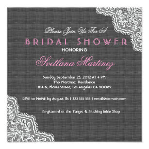 Black Linen White Lace Bridal Shower Invite