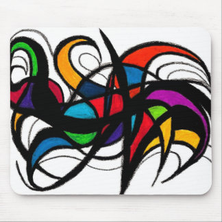 Black Lines Colour Block Abstract Mousepads