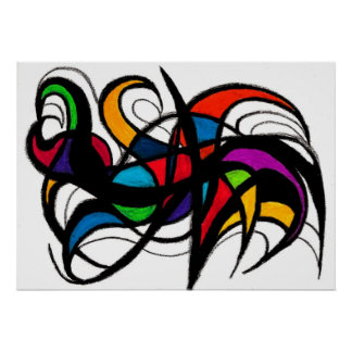 Black Lines Colour Block Abstract Poster