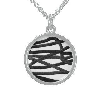 Black Lines Round Pendant Necklace