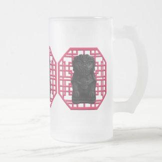 Black Lion Dog Frosted Glass Beer Mug