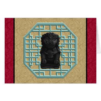 Black Lion Dog Greeting Card