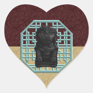 Black Lion Dog Heart Sticker